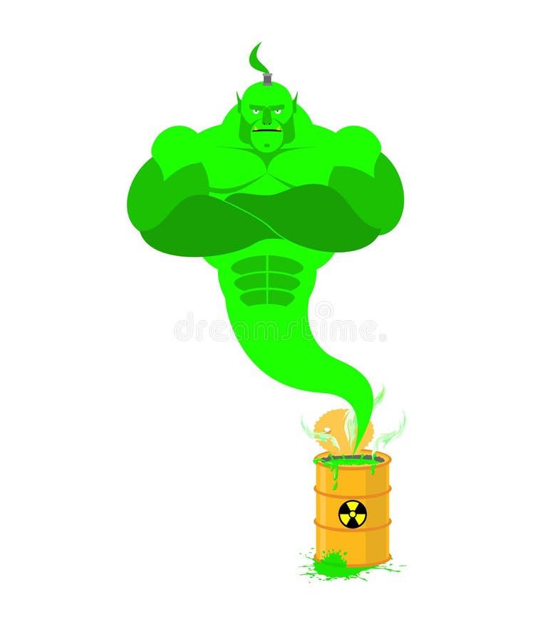 Acid Genie of barrels of toxic waste. Green Magic spirit. Vector vector illustration