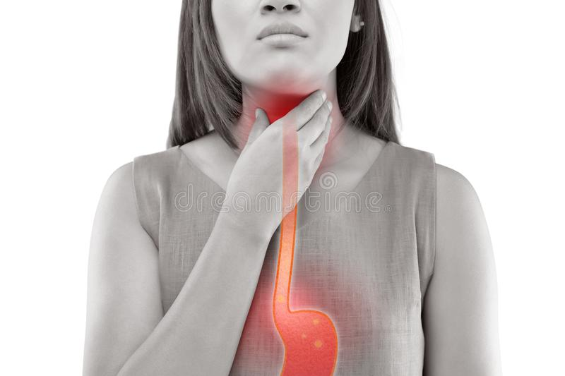 Acid Reflux. Woman Suffering From Acid Reflux Or Heartburn-Isolated On White Background stock images