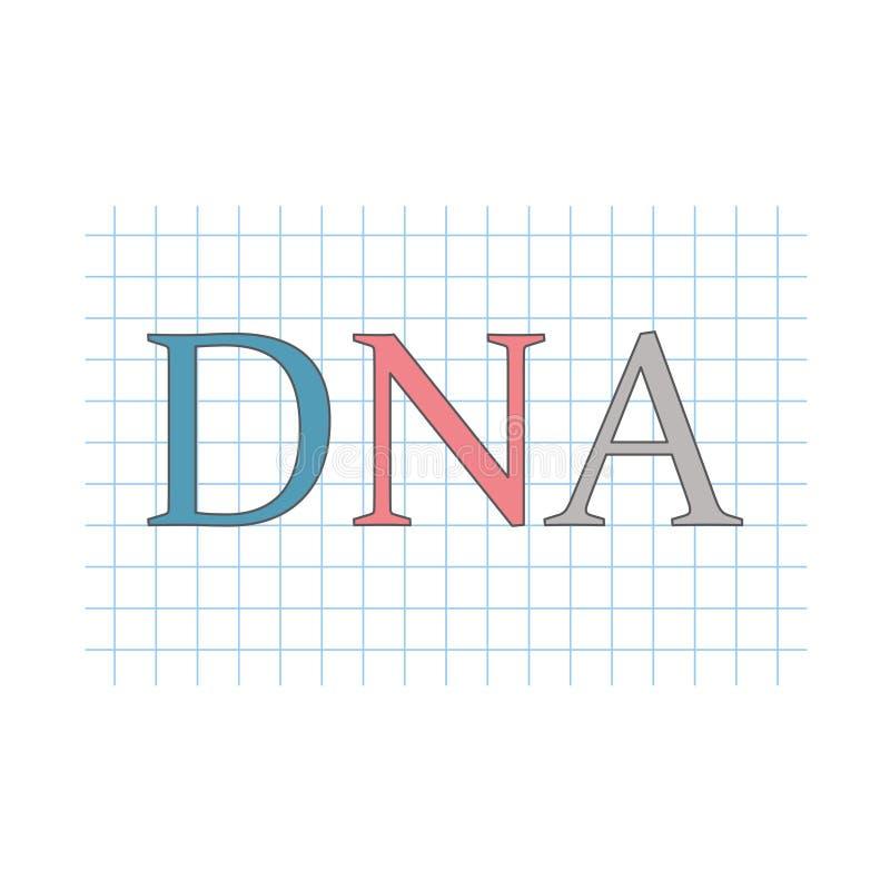 Acide désoxyribonucléique d'ADN écrit sur la feuille de papier à carreaux illustration de vecteur