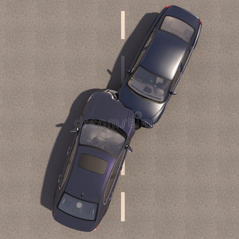 Acidente com dois carros ilustração stock
