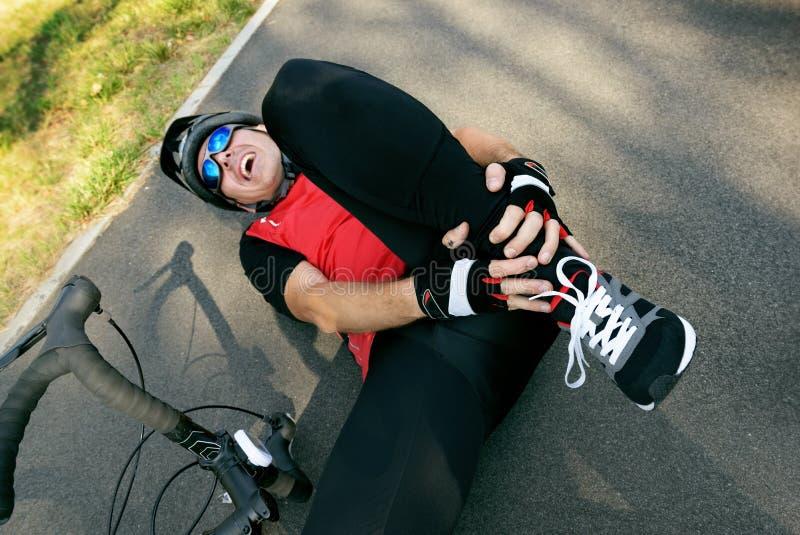 Acidente da bicicleta foto de stock