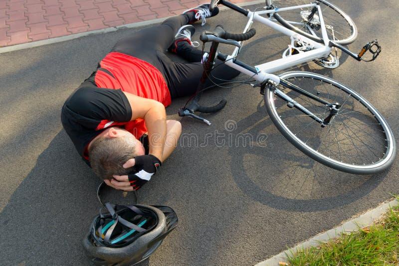 Acidente da bicicleta imagem de stock