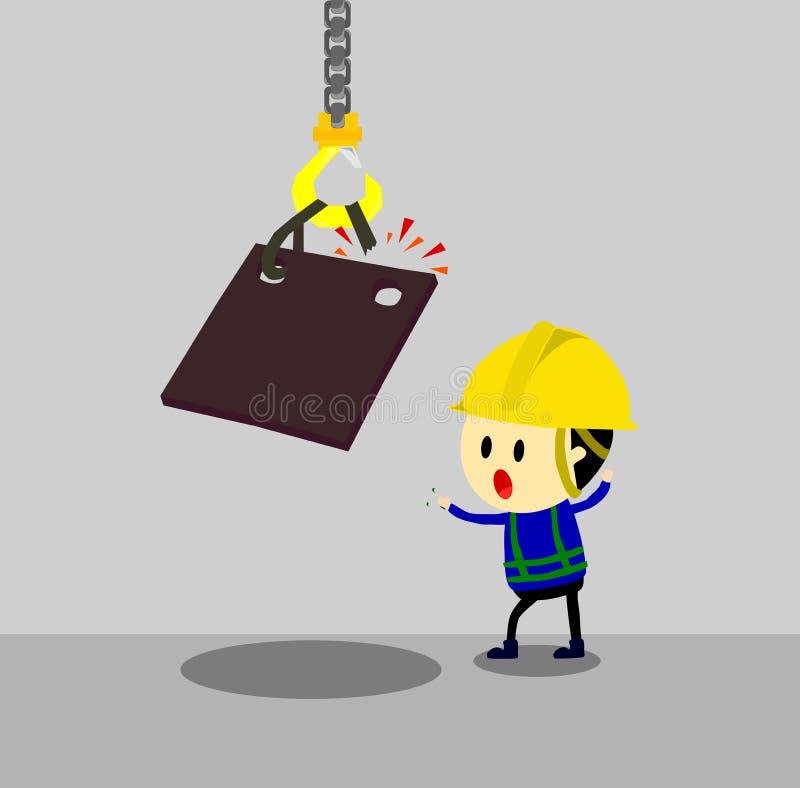 Acidente da corrente de levantamento que guarda a folha do metal pesado acima do trabalhador, situação insegura, estilo dos desen ilustração do vetor