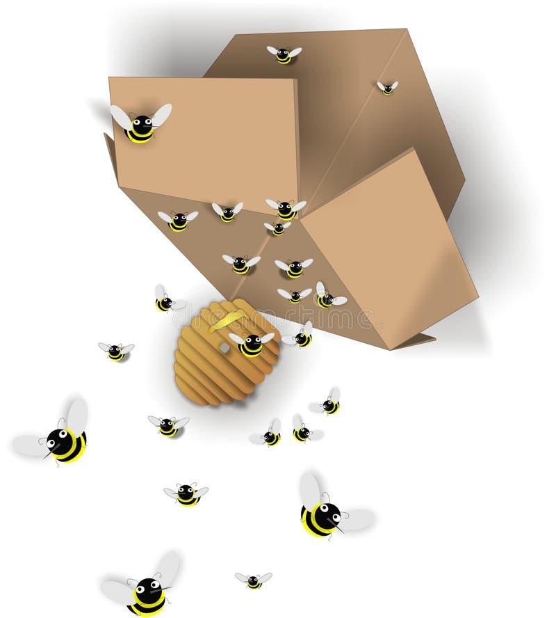 Acidente das abelhas ocupadas ilustração stock