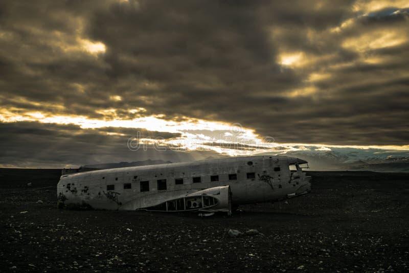 Acidente de aviação de Solheimasandur imagens de stock