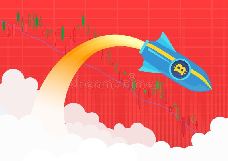 Acidente de foguete Bitmoney voando Ilustração do vetor do mercado de venda vermelho criptomoeda ilustração royalty free