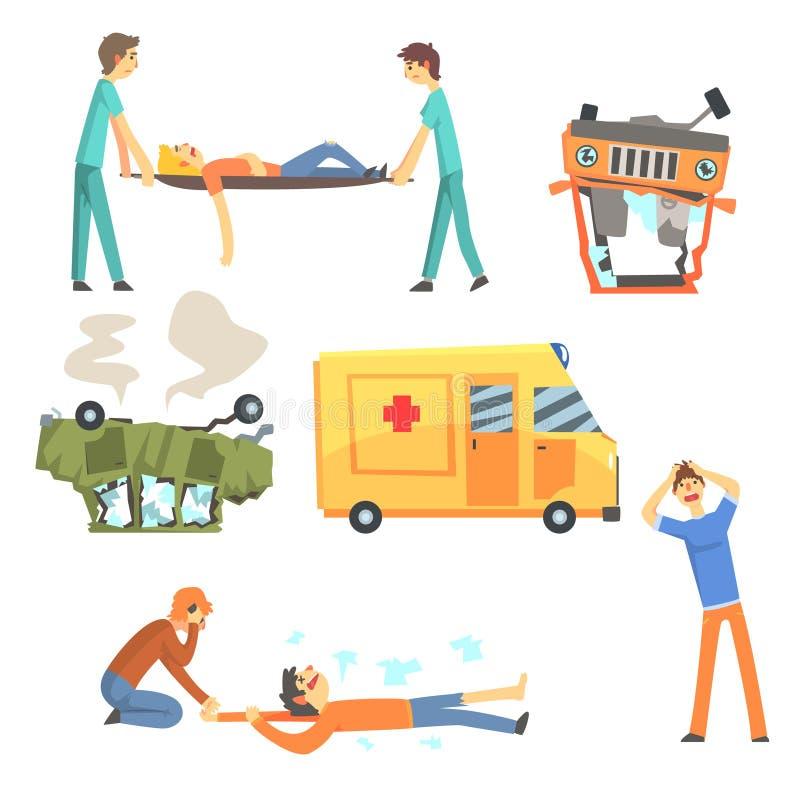 Acidente de viação do carro tendo por resultado dano de saúde dos povos e ambulância que ajuda as vítimas ajustadas de desenhos a ilustração do vetor