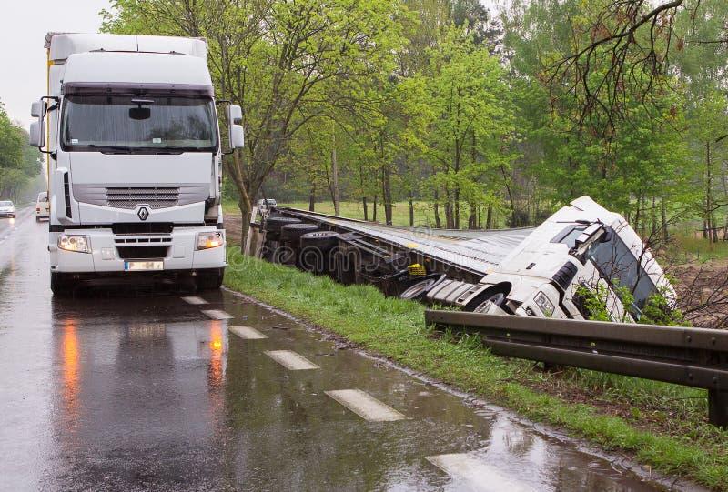 Acidente do caminhão. fotos de stock royalty free