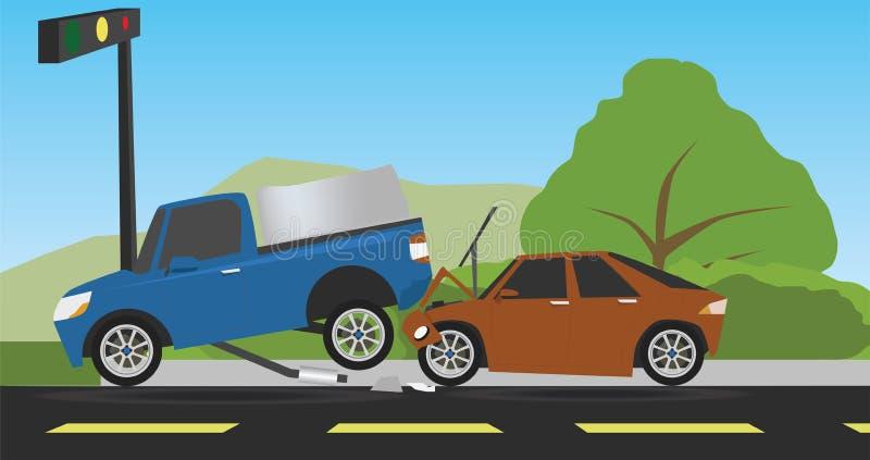 Acidente do carro dois na estrada ilustração stock