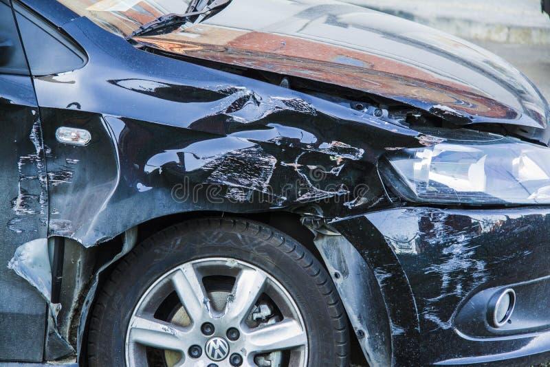 Acidente do esmagamento do carro imagem de stock royalty free