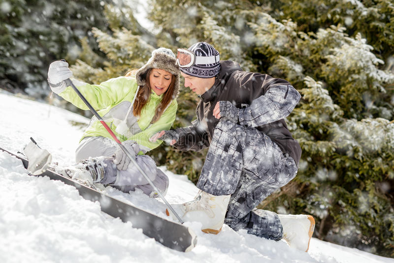 Acidente do esqui foto de stock royalty free