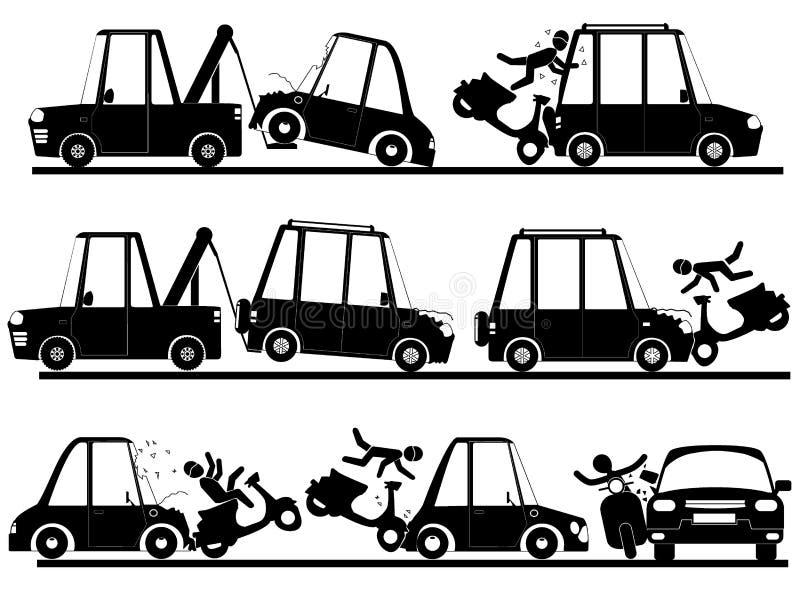 Acidente do velomotor com o carro no grupo da silhueta ilustração stock