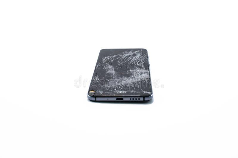 Acidente, fundo, preto, quebrado, pilha, telefone celular, uma comunicação, quebra, rachado, deixado de funcionar, danificada, di foto de stock