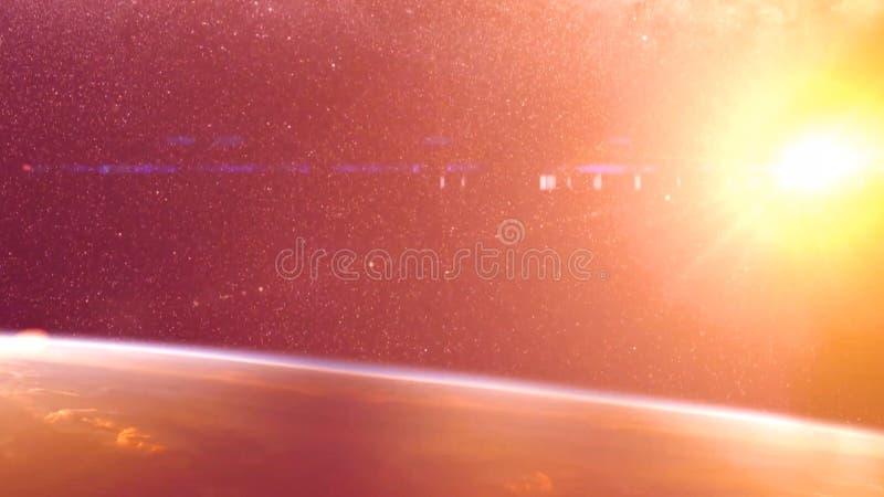 Acidente global - colisão de um asteroide com a terra Meteorito que aquece-se acima como ele queda na atmosfera do ` s da terra imagem de stock royalty free