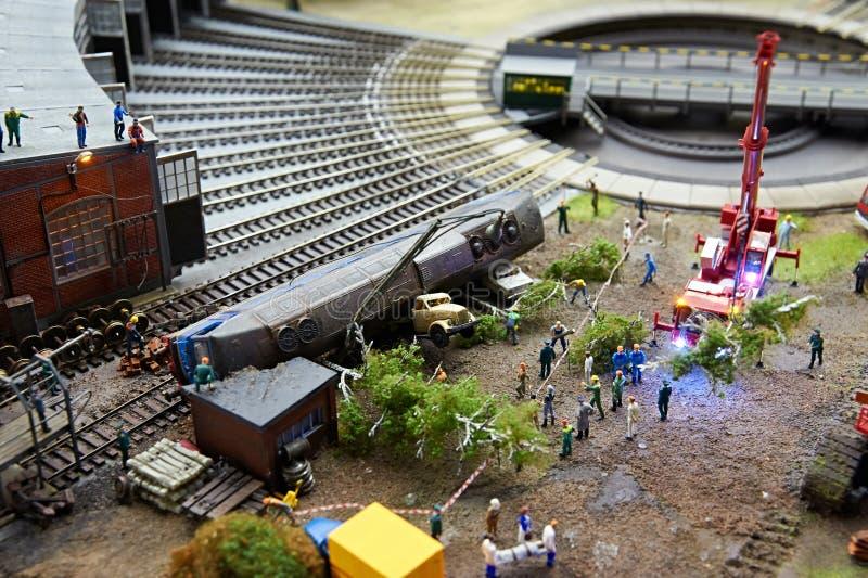 Acidente locomotivo na estrada de ferro imagens de stock royalty free