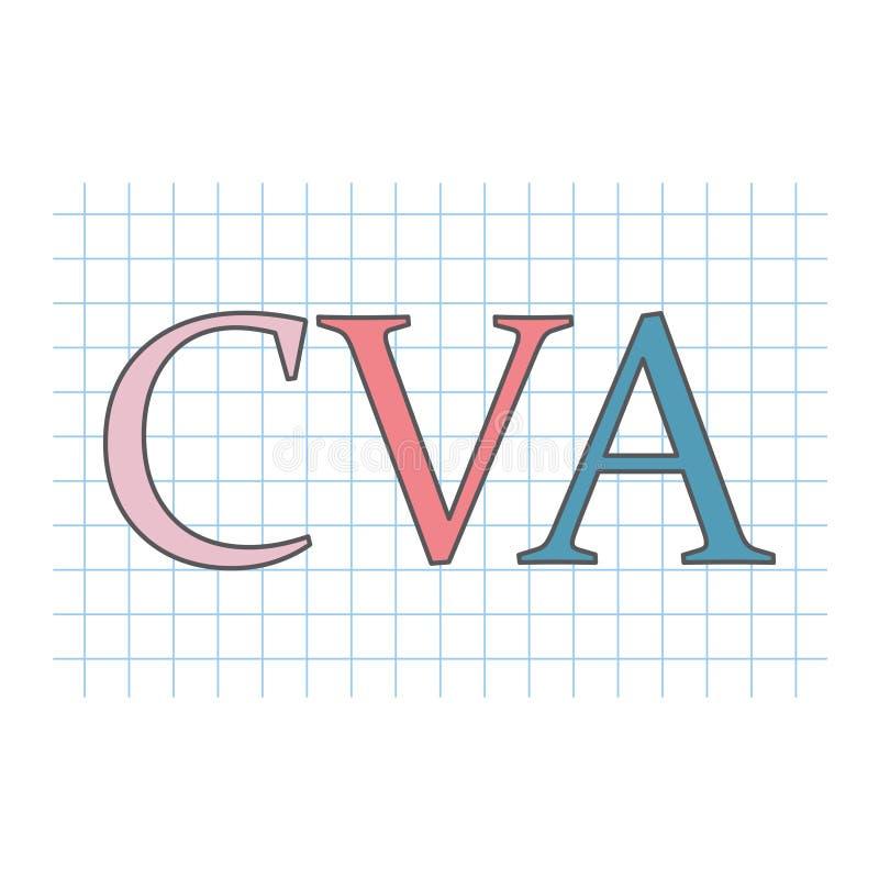 Acidente vascular cerebral de CVA escrito na folha de papel quadriculado ilustração royalty free