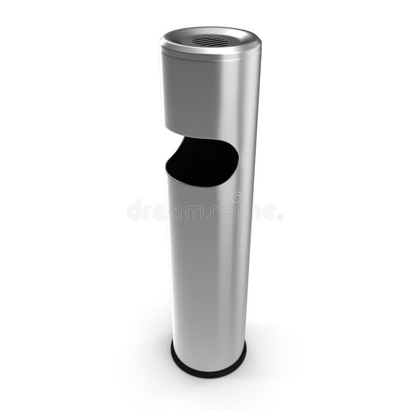 Acier inoxydable de cendrier extérieur d'isolement sur l'illustration blanche du fond 3D illustration de vecteur