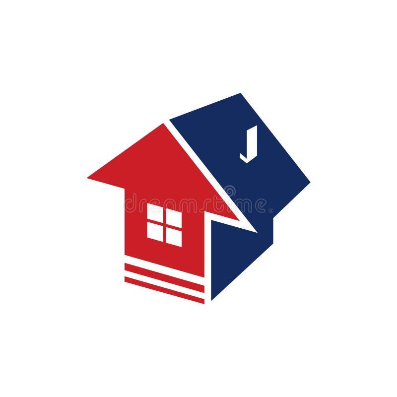 Acima da corretora de imóveis lisa Logo Symbol da propriedade da casa da seta ilustração do vetor