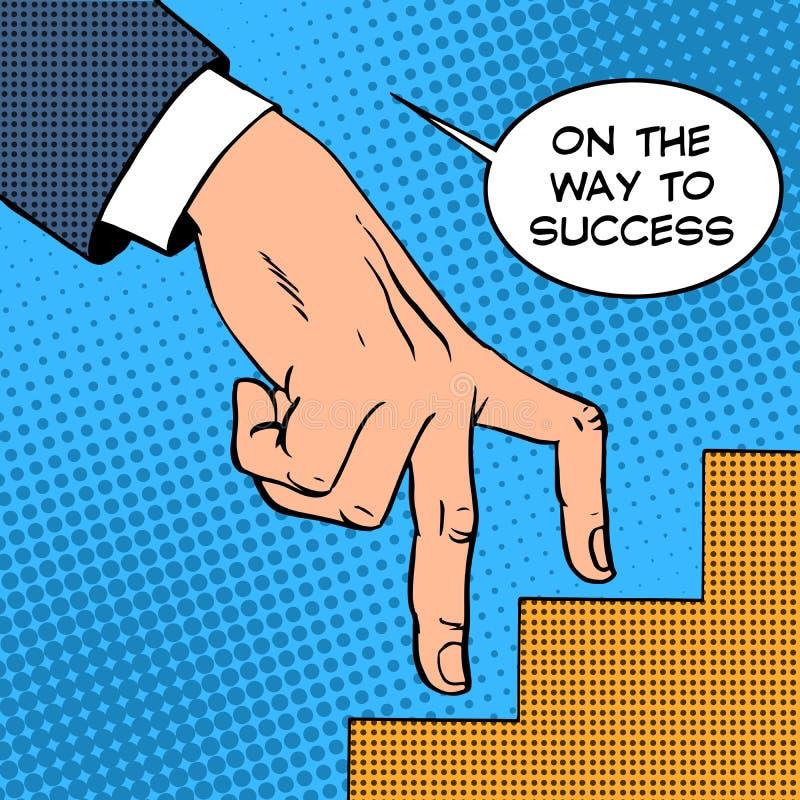 Acima da escada do conceito do negócio do sucesso ilustração do vetor