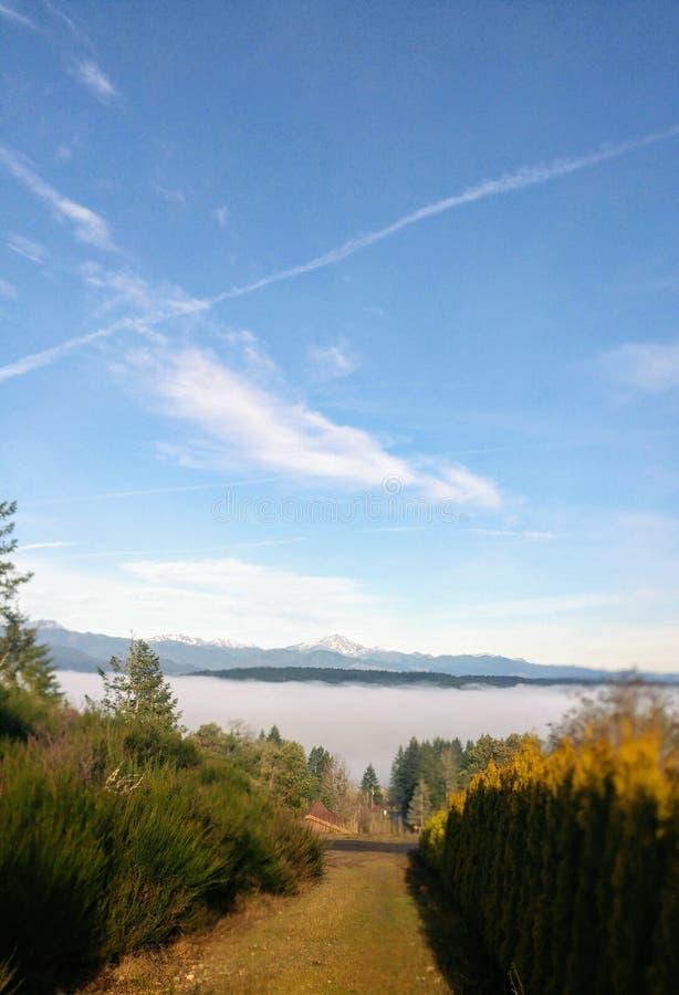 Acima da névoa que olha montanhas foto de stock royalty free