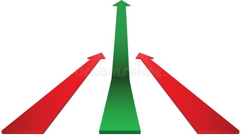 Acima da seta verde ilustração do vetor