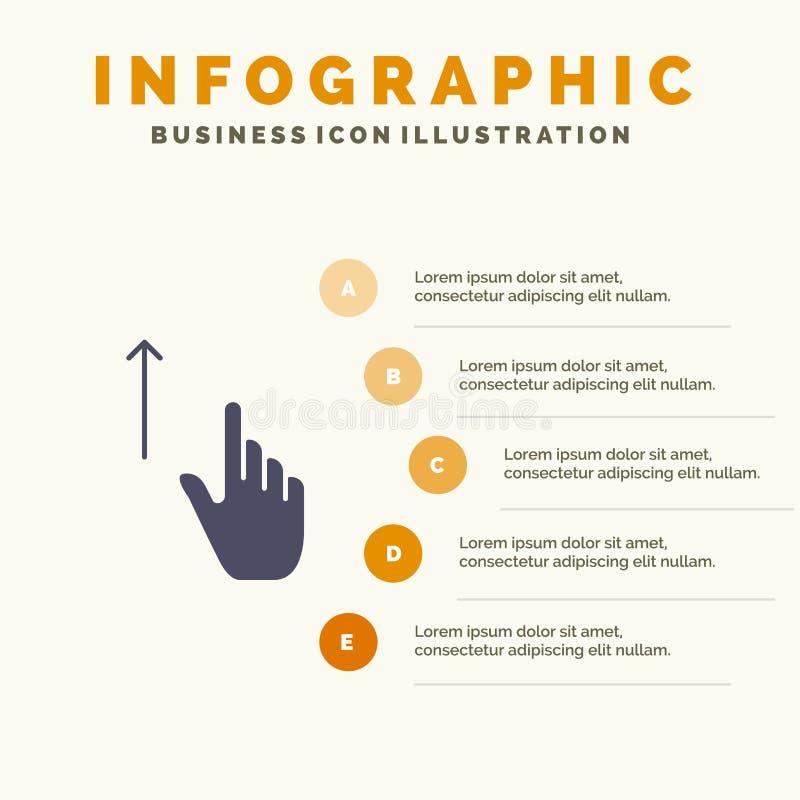 Acima de, dedo, gesto, gestos, fundo contínuo da apresentação das etapas de Infographics 5 do ícone da mão ilustração stock