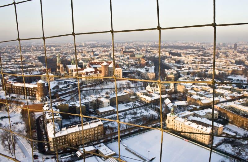 Acima de Krakow nevado imagens de stock royalty free