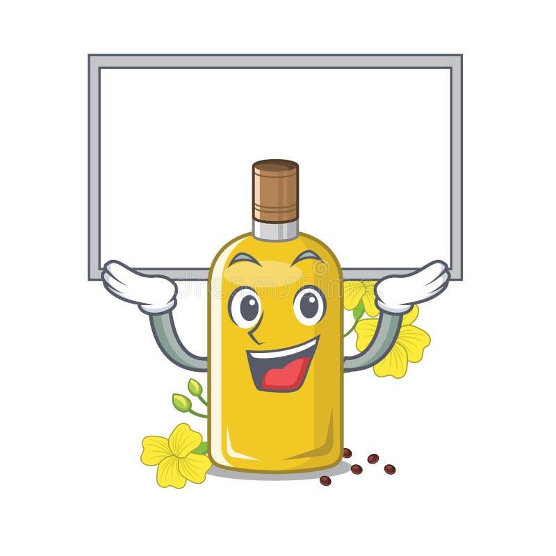 Acima do óleo do canola da placa isolado com os desenhos animados ilustração do vetor