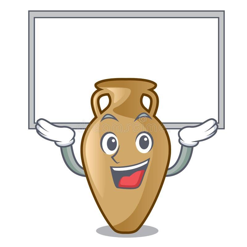 Acima do estilo dos desenhos animados do caráter da ânfora da placa ilustração stock