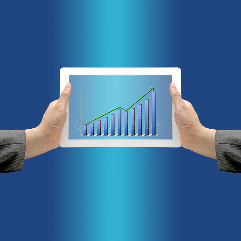 Acima do gráfico do rendimento da tendência foto de stock
