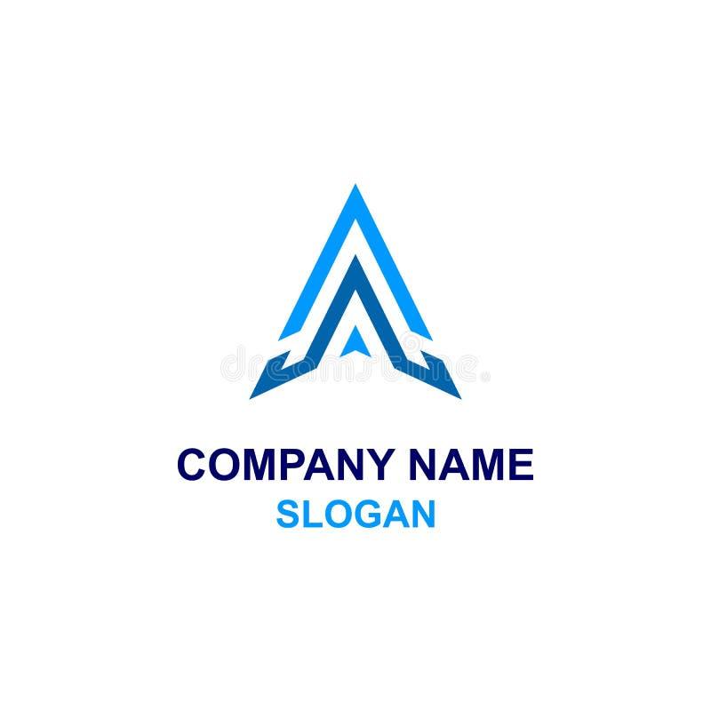 Acima do logotipo da inicial da letra da seta A ilustração stock