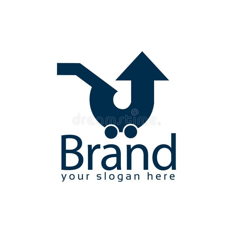 Acima do molde do logotipo do estoque do mercado logotipo liso editable Vetor ilustração do vetor