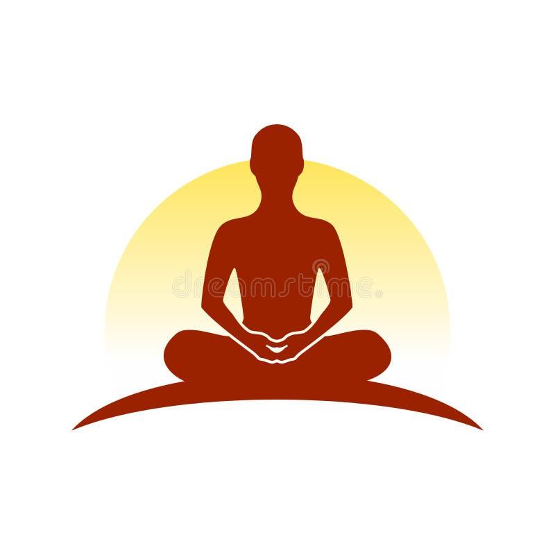 Acima do símbolo Logo Design da meditação do monte ilustração royalty free