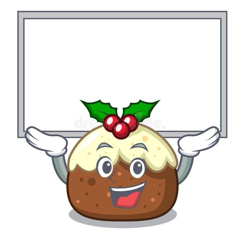 Acima dos desenhos animados do caráter do bolo do fruto da placa ilustração do vetor