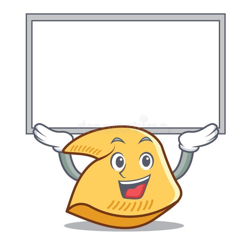 Acima dos desenhos animados do caráter da cookie de fortuna da placa ilustração stock