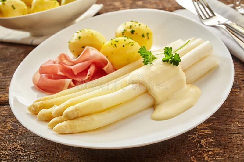 Acionador de partida frio gourmet com aspargo e prosciutto imagens de stock royalty free