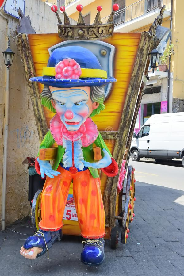 Allegorical float depicting various fantasy characters. Acireale CT, Italy - April 29, 2018: detail of a allegorical float depicting various fantasy characters royalty free stock photography