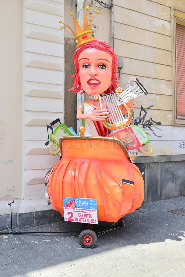 Allegorical float depicting various fantasy characters. Acireale CT, Italy - April 29, 2018: detail of a allegorical float depicting various fantasy characters stock images