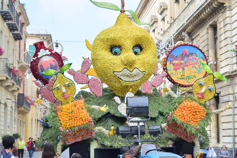 Flowery float depicting various characters of fantasy. Acireale CT, Italy - 29 April 2018: detail of a flowery float depicting various characters of fantasy stock photo