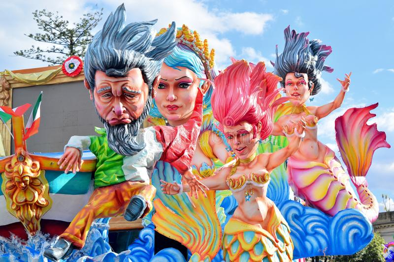 Allegorical float depicting various fantasy characters. Acireale CT, Italy - February 11, 2018: detail of a allegorical float depicting various fantasy stock images