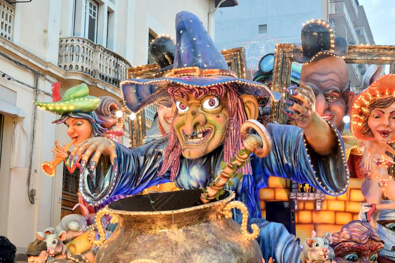 Allegorical float depicting a witch. Acireale CT, Italy - February 11, 2018: detail of a allegorical float depicting a witch during the carnival parade along the royalty free stock photography