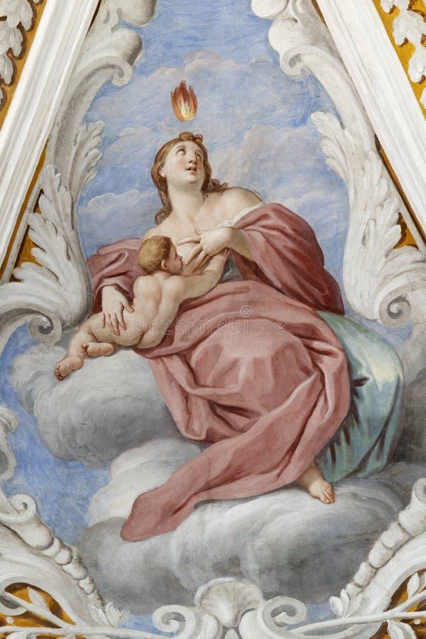 ACIREALE, ITALIË - 11 APRIL, 2018: De fresco van de liefdeskardinale deugd in de kerk Chiesa di San Camillo door Pietro Paolo Vas royalty-vrije stock fotografie