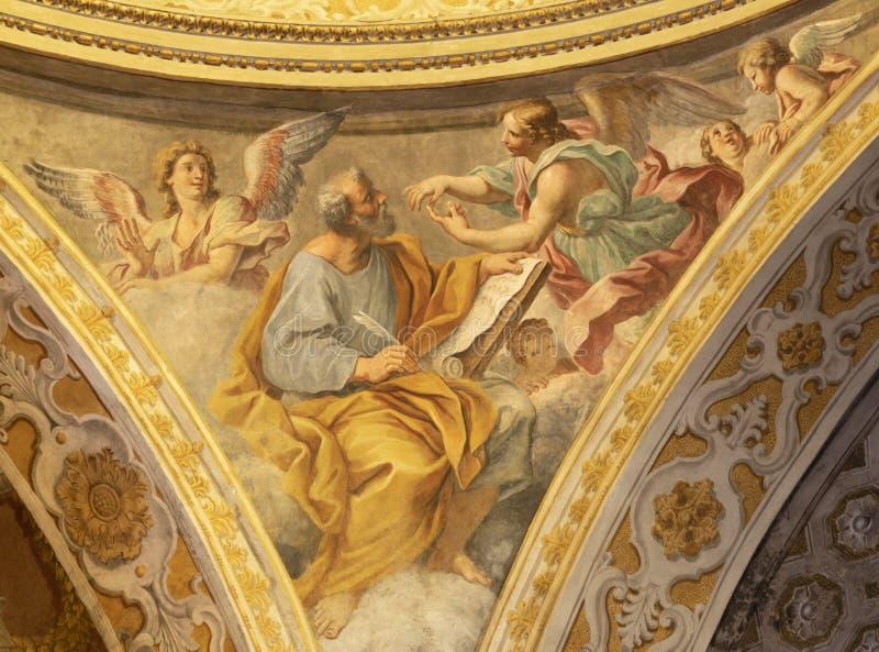ACIREALE, ITALIË - APRIL 11, 2018: De fresko van St Matthew de Evangelist van de koepel van Duomo door Pietro Paolo Vasta royalty-vrije stock foto