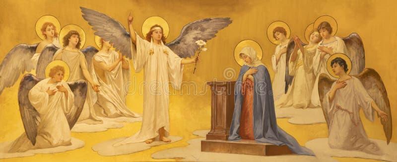 ACIREALE, ITALIË, 2018: De fresko van Aankondiging in Duomo - cattedrale Di Maria Santissima Annunziata door Giuseppe Sciuti royalty-vrije stock foto