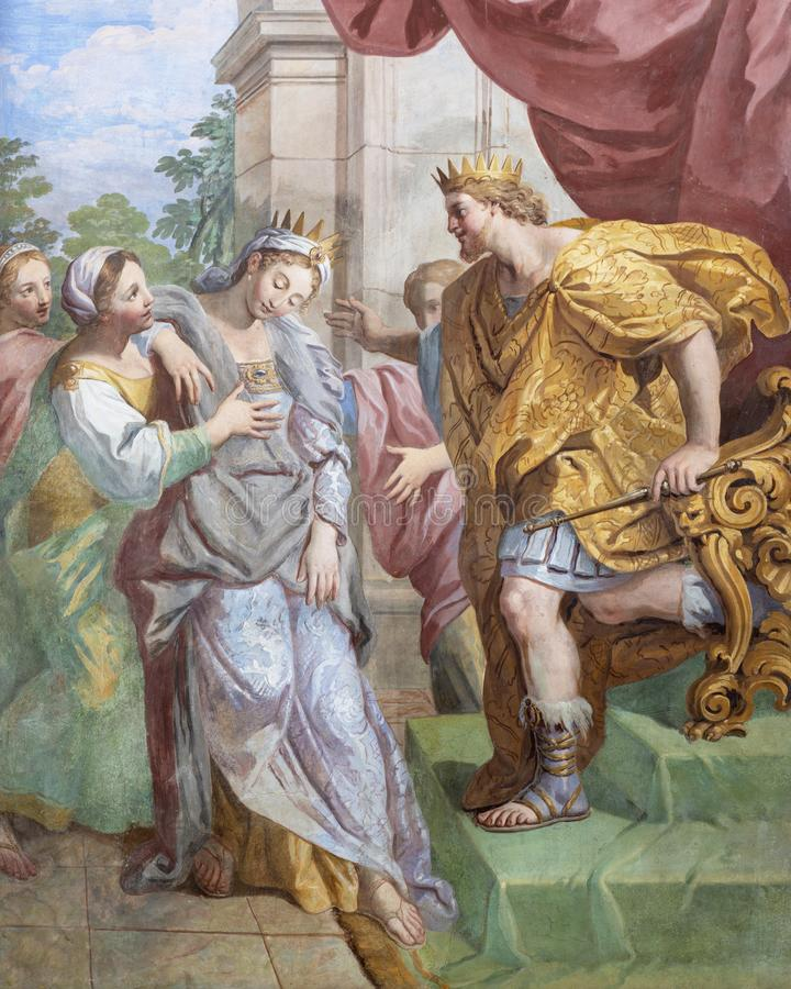 ACIREALE, ITALI? - APRIL 11, 2018: De fresko van David en Abigail in kerk Chiesa Di San Camillo door Pietro Paolo Vasta, 18 cent stock foto's