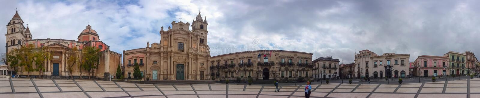 Panoramic view of Piazza del Duomo in Acireale, Sicily, Italy royalty free stock images