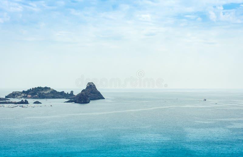 Acitrezza rocks of the Cyclops, sea stacks in Catania, Sicily, Italy.  royalty free stock photos
