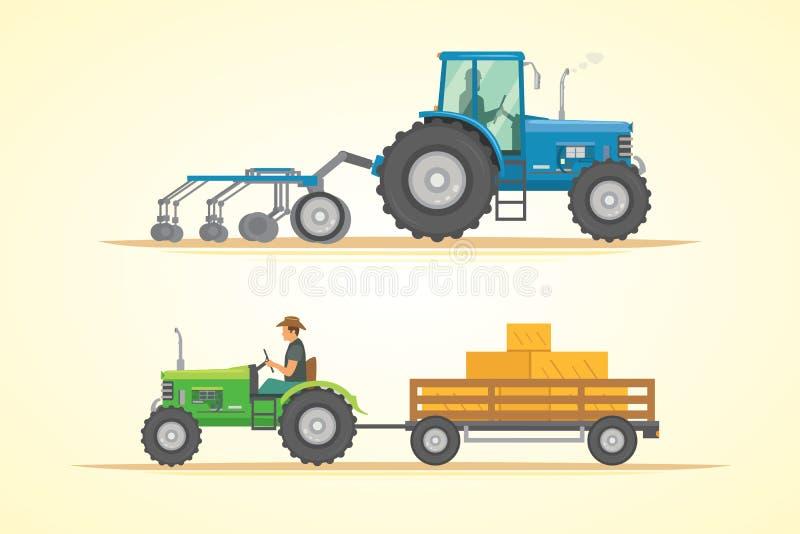 Ackerschlepperikonen-Vektorillustration Schwere landwirtschaftliche Maschinerie für praktische Arbeit stock abbildung