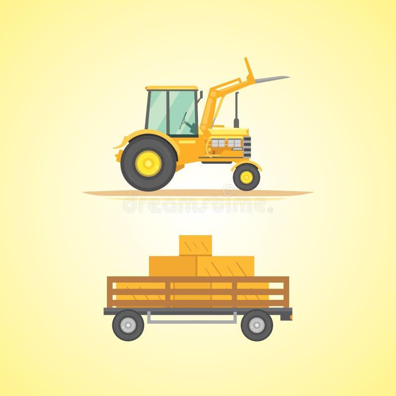 Ackerschlepperikonen-Vektorillustration Schwere landwirtschaftliche Maschinerie für praktische Arbeit lizenzfreie abbildung