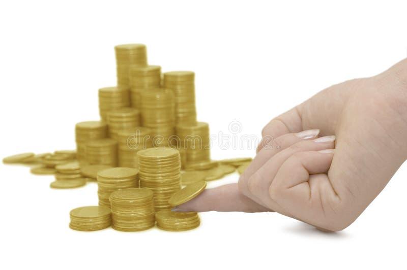 Ackground dourado das moedas foto de stock royalty free